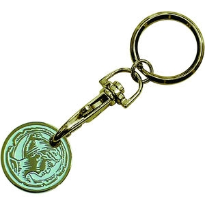Enamel Trolley Coin Keyring (Brass Plated) - 15203T